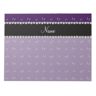 Personalized name purple butterfly pattern scratch pads