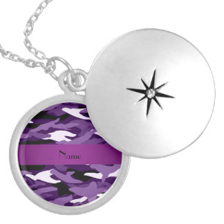 Personalized name purple camouflage round locket necklace