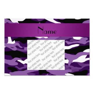 Personalized name purple camouflage art photo