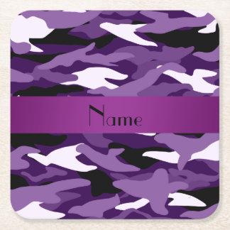 Personalized name purple camouflage purple stripe square paper coaster