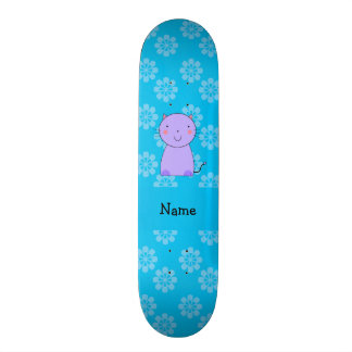 Personalized name purple cat blue flowers skate boards