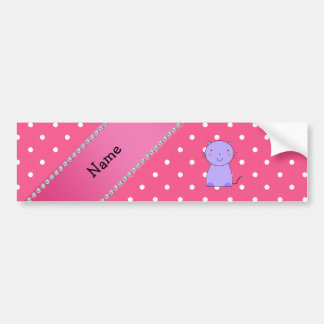Personalized name purple cat pink polka dots bumper stickers