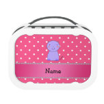 Personalized name purple cat pink polka dots lunchboxes