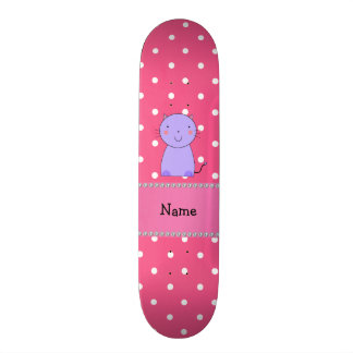 Personalized name purple cat pink polka dots skate decks