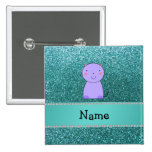 Personalized name purple cat turquoise glitter button