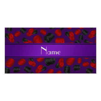 Personalized name purple checkers game photo card