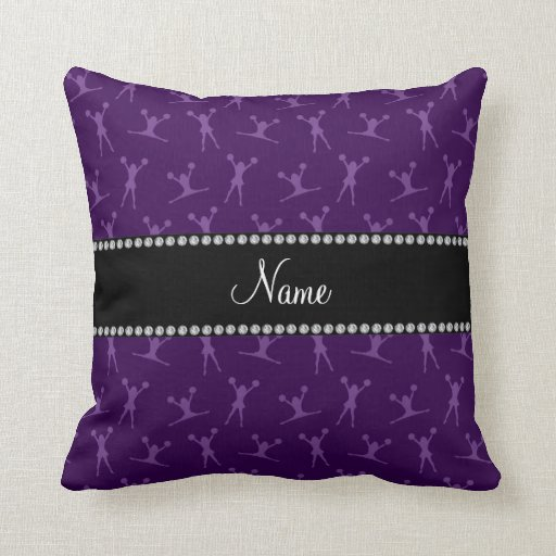 Personalized name purple cheerleader pattern pillows