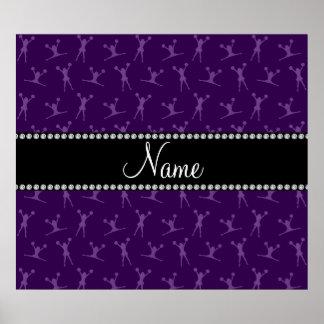 Personalized name purple cheerleader pattern print