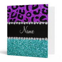 Personalized name purple cheetah turquoise glitter 3 ring binder
