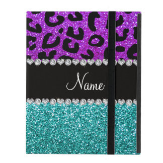 Personalized name purple cheetah turquoise glitter iPad case
