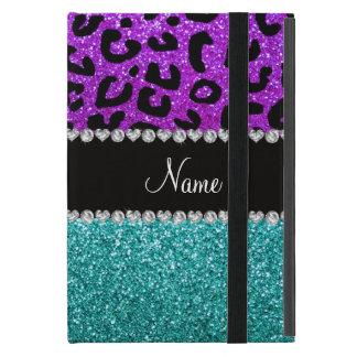 Personalized name purple cheetah turquoise glitter iPad mini cover