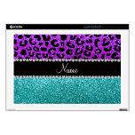 Personalized name purple cheetah turquoise glitter laptop skin