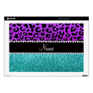 Personalized name purple cheetah turquoise glitter laptop skin