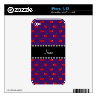 Personalized name purple cherry pattern decal for the iPhone 4