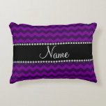Personalized name purple chevrons accent pillow