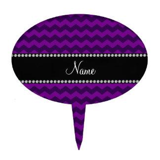 Personalized name purple chevrons cake picks