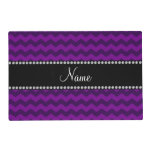 Personalized name purple chevrons laminated place mat