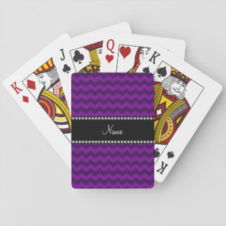 Personalized name purple chevrons playing cards