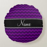 Personalized name purple chevrons round pillow