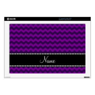 Personalized name purple chevrons laptop skins