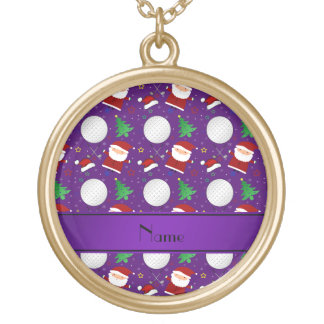 Personalized name purple christmas golfing necklace