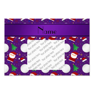 Personalized name purple christmas golfing photo