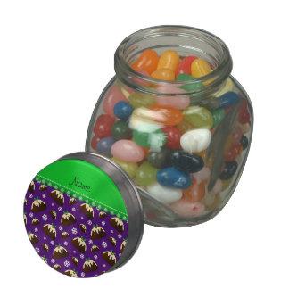 Personalized name purple christmas pudding pattern glass candy jars