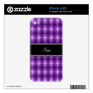 Personalized name purple circle diamond decals for iPhone 4S
