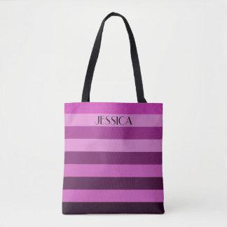 Personalized Name Purple Color Block Stripes Tote Bag