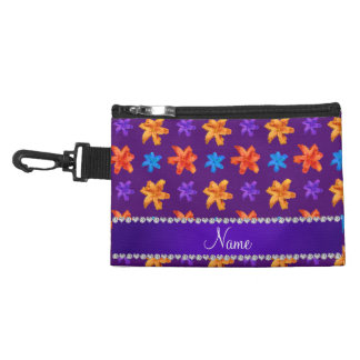 Personalized name purple colorful lily flowers accessories bags