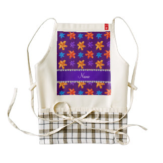 Personalized name purple colorful lily flowers zazzle HEART apron