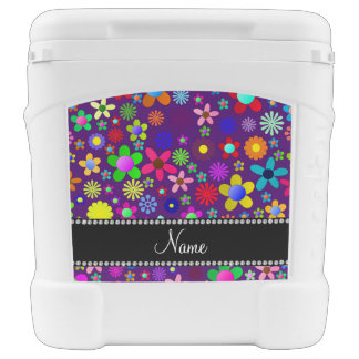 Personalized name purple colorful retro flowers igloo roller cooler