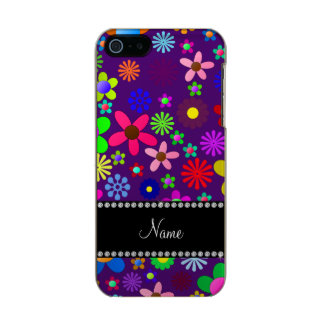 Personalized name purple colorful retro flowers incipio feather® shine iPhone 5 case
