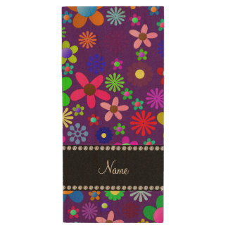 Personalized name purple colorful retro flowers wood USB 2.0 flash drive