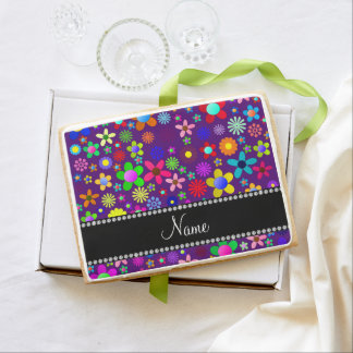 Personalized name purple colorful retro flowers jumbo cookie