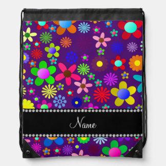 Personalized name purple colorful retro flowers drawstring bag