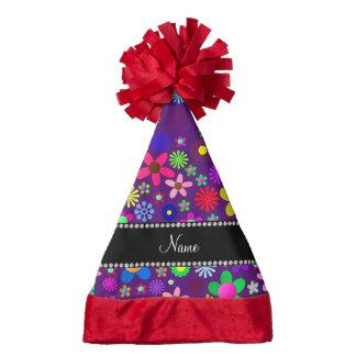 Personalized name purple colorful retro flowers santa hat