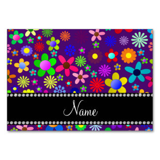 Personalized name purple colorful retro flowers table cards