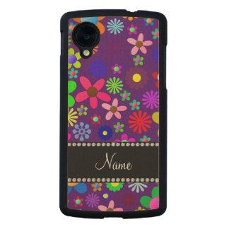 Personalized name purple colorful retro flowers carved® maple nexus 5 slim case