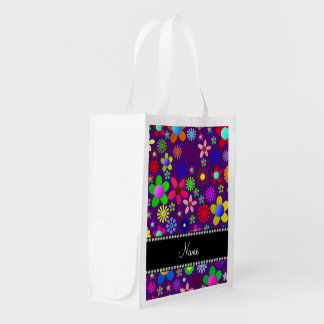 Personalized name purple colorful retro flowers grocery bags