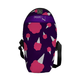 Personalized name purple cotton candy messenger bag