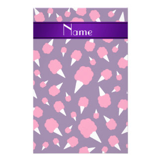 Personalized name purple cotton candy customized stationery
