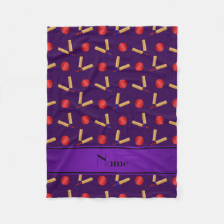 Personalized name purple cricket pattern fleece blanket