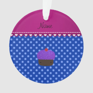 Personalized name purple cupcake blue polka dots