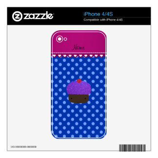 Personalized name purple cupcake blue polka dots decals for the iPhone 4