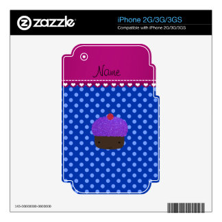 Personalized name purple cupcake blue polka dots iPhone 3 decal