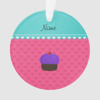 Personalized name purple cupcake pink hearts