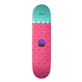 Personalized name purple cupcake pink hearts skateboards