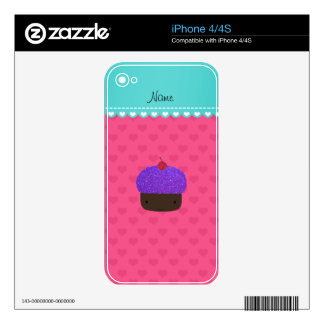 Personalized name purple cupcake pink hearts decal for the iPhone 4