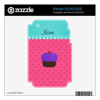 Personalized name purple cupcake pink hearts decals for the iPhone 3G